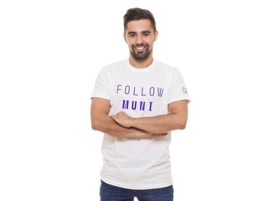 Men's  T-shirt, white FOLLOW MUNI