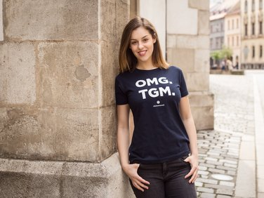 Women's TGM T-shirt, OMG, blue