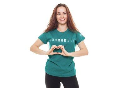 Women's T-shirt comMUNIty, turquoise