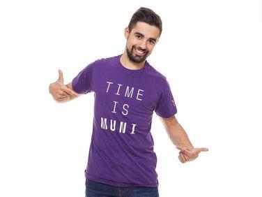 Tričko pánské fialové Time is MUNI
