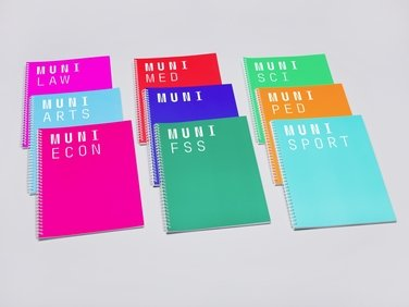 MU notebook, multi-coloured A4