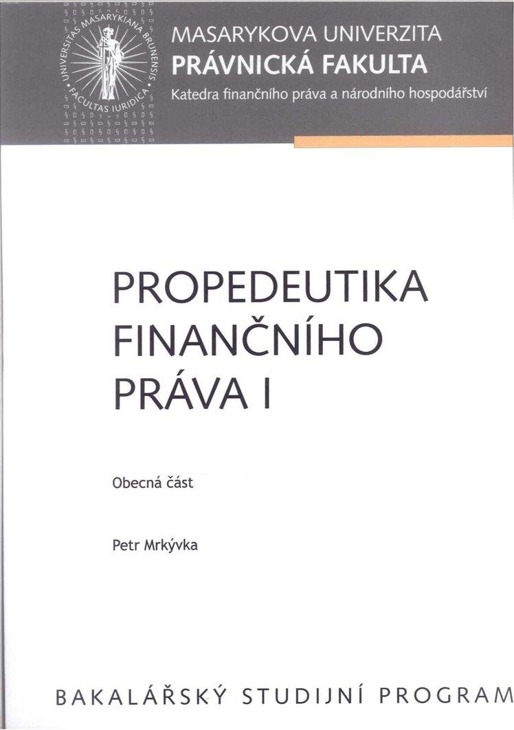 Propedeutika finančního práva I