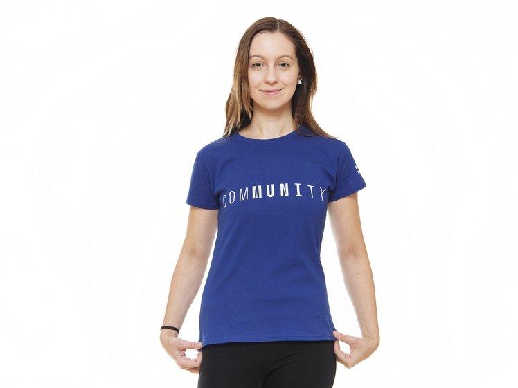 Women's T-shirt comMUNIty, blue